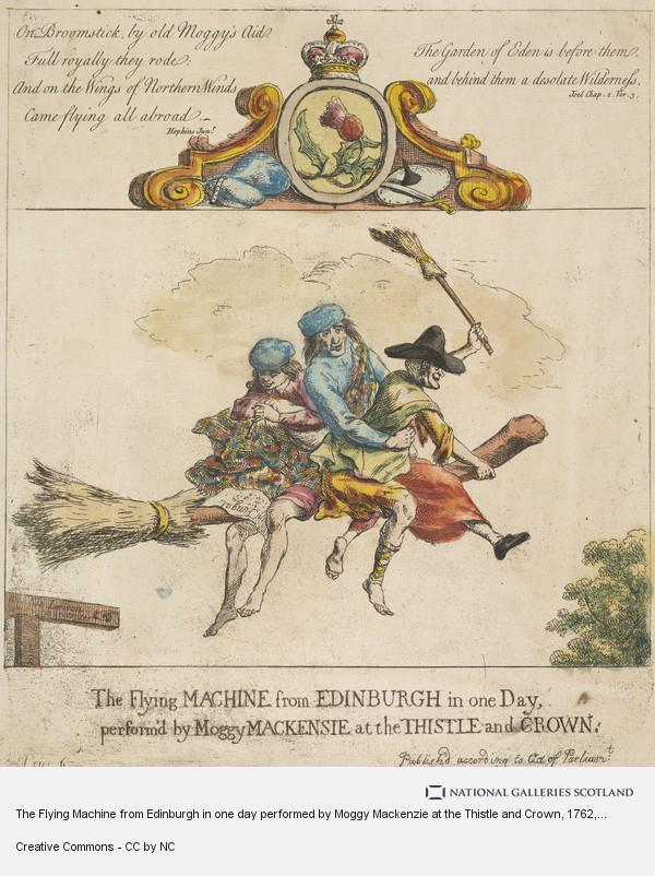 Paul Sandby, The Flying Machine from Edinburgh in one day performed by Moggy Mackenzie at the Thistle and Crown (1762)