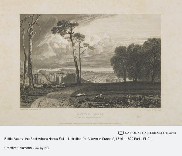 William Bernard Cooke, Battle Abbey, the Spot where Harold Fell - Illustration for 'Views in Sussex', 1816 - 1820 Part I, Pl. 2 (Rawlinson no. 129 II)