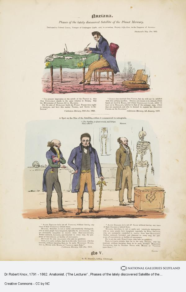 R.H. Nimmo, Dr Robert Knox, 1791 - 1862. Anatomist. ('The Lecturer' , Phases of the lately discovered Satellite of the Planet Mercury, No. 5, Noxiana series...