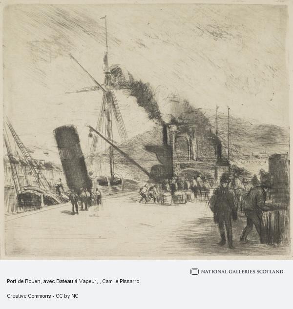 Camille Pissarro, Port de Rouen, avec Bateau à Vapeur