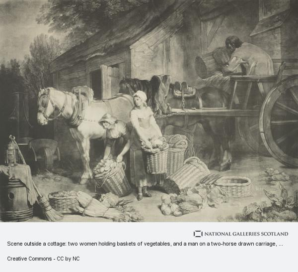 Unknown, Scene outside a cottage: two women holding baskets of vegetables, and a man on a two-horse drawn carriage