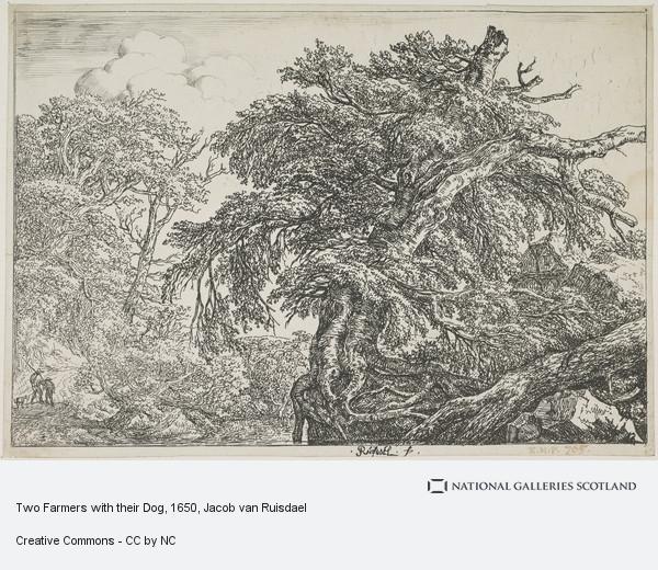 Jacob Isaacsz van Ruisdael, Two Farmers with their Dog
