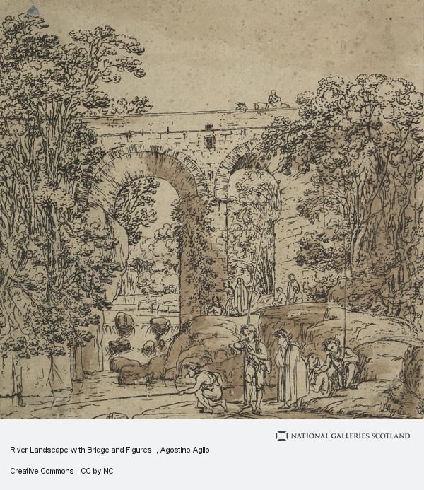 Agostino Aglio, River Landscape with Bridge and Figures