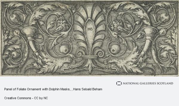 Hans Sebald Beham, Panel of Foliate Ornament with Dolphin Masks