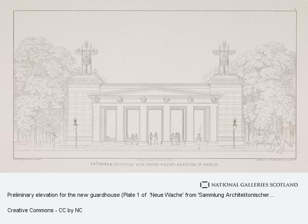 Karl Friedrich Schinkel, Preliminary elevation for the new guardhouse (Plate 1 of  'Neue Wache' from 'Sammlung Architektonischer Entwürfe)