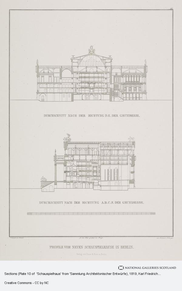 Karl Friedrich Schinkel, Sections (Plate 10 of  'Schauspielhaus' from 'Sammlung Architektonischer Entwürfe)