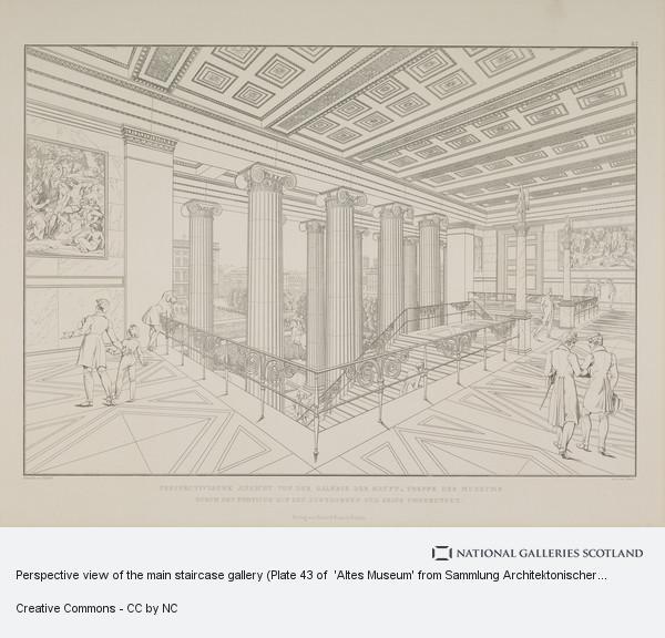 Karl Friedrich Schinkel, Perspective view of the main staircase gallery (Plate 43 of  'Altes Museum' from Sammlung Architektonischer Entwürfe)