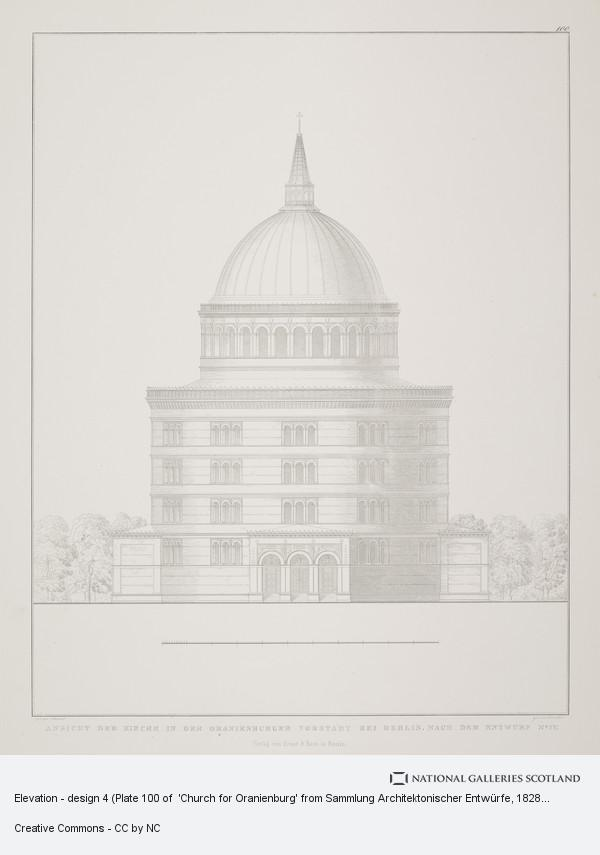 Karl Friedrich Schinkel, Elevation - design 4 (Plate 100 of  'Church for Oranienburg' from Sammlung Architektonischer Entwürfe