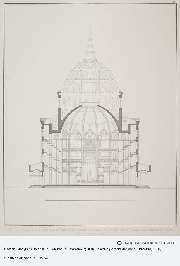 Karl Friedrich Schinkel, Section - design 4 (Plate 101 of  'Church for Oranienburg' from Sammlung Architektonischer Entwürfe