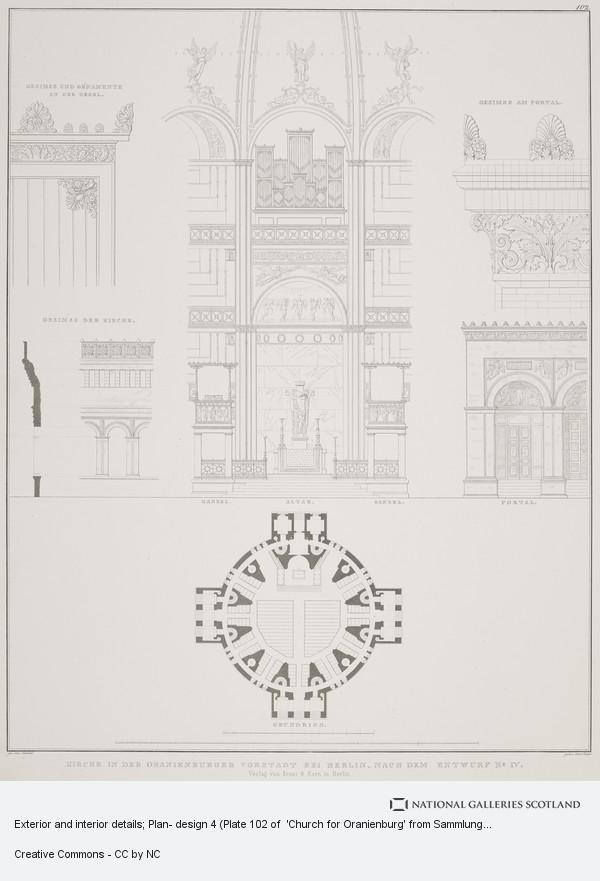 Karl Friedrich Schinkel, Exterior and interior details; Plan- design 4 (Plate 102 of  'Church for Oranienburg' from Sammlung Architektonischer Entwürfe