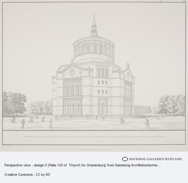 Karl Friedrich Schinkel, Perspective view - design 5 (Plate 103 of  'Church for Oranienburg' from Sammlung Architektonischer Entwürfe