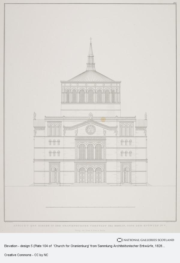 Karl Friedrich Schinkel, Elevation - design 5 (Plate 104 of  'Church for Oranienburg' from Sammlung Architektonischer Entwürfe