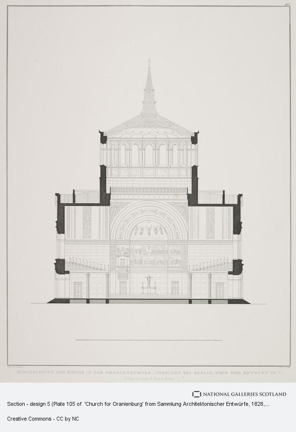 Karl Friedrich Schinkel, Section - design 5 (Plate 105 of  'Church for Oranienburg' from Sammlung Architektonischer Entwürfe