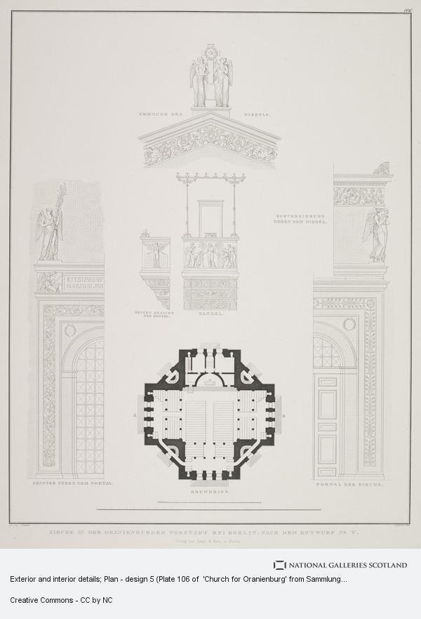 Karl Friedrich Schinkel, Exterior and interior details; Plan - design 5 (Plate 106 of  'Church for Oranienburg' from Sammlung Architektonischer Entwürfe