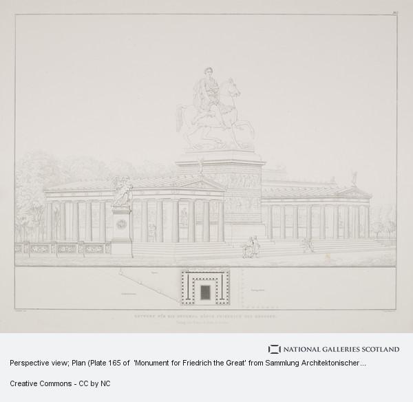 Karl Friedrich Schinkel, Perspective view; Plan (Plate 165 of  'Monument for Friedrich the Great' from Sammlung Architektonischer Entwürfe
