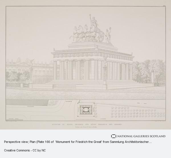 Karl Friedrich Schinkel, Perspective view; Plan (Plate 166 of  'Monument for Friedrich the Great' from Sammlung Architektonischer Entwürfe