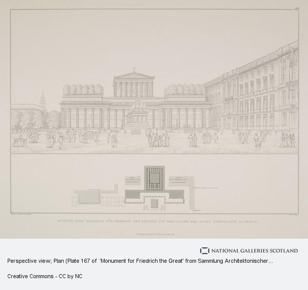 Karl Friedrich Schinkel, Perspective view; Plan (Plate 167 of  'Monument for Friedrich the Great' from Sammlung Architektonischer Entwürfe