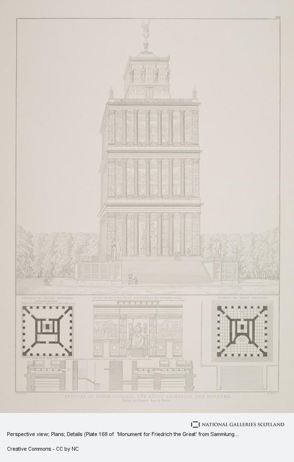 Karl Friedrich Schinkel, Perspective view; Plans; Details (Plate 168 of  'Monument for Friedrich the Great' from Sammlung Architektonischer Entwürfe