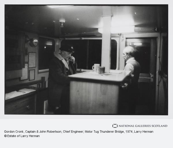 Larry Herman, Gordon Cronk, Captain & John Robertson, Chief Engineer; Motor Tug Thunderer Bridge