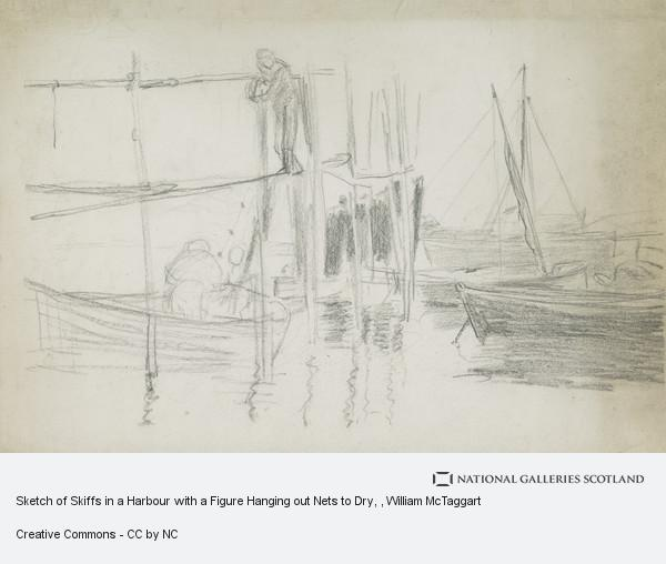 William McTaggart, Sketch of Skiffs in a Harbour with a Figure Hanging out Nets to Dry
