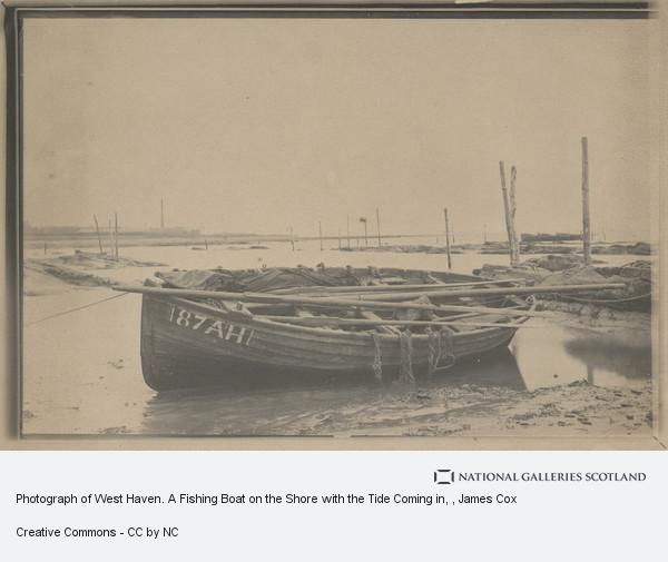 James Cox, Photograph of West Haven. A Fishing Boat on the Shore with the Tide Coming in