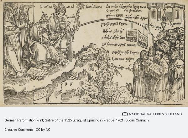 Lucas Cranach, German Reformation Print; Satire of the 1525 utraquist Uprising in Prague