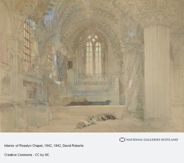 David Roberts, Interior of Rosslyn Chapel, 1842 (Dated 1842)