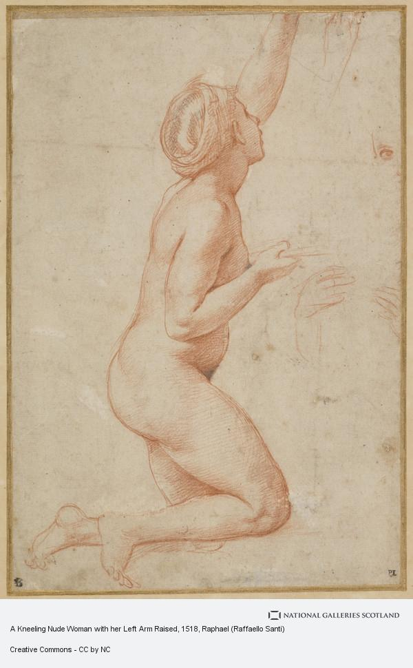 Raphael (Raffaello Santi), A Kneeling Nude Woman with her Left Arm Raised