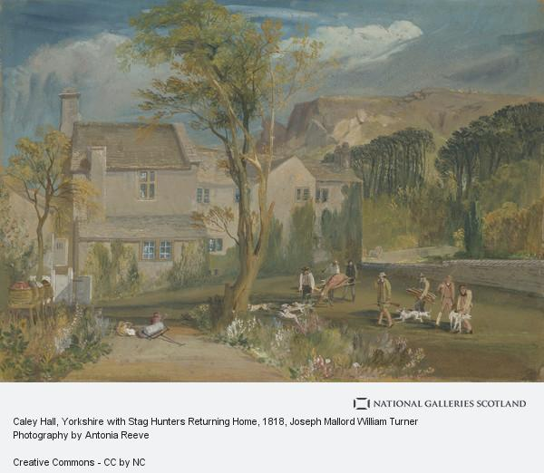 Joseph Mallord William Turner, Caley Hall, Yorkshire with Stag Hunters Returning Home