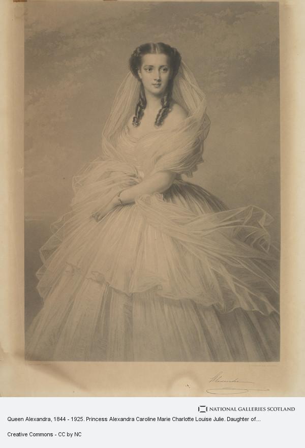 Samuel Cousins, Queen Alexandra, 1844 - 1925. Princess Alexandra Caroline Marie Charlotte Louise Julie. Daughter of Christian IX of Denmark; Queen of Edward VII