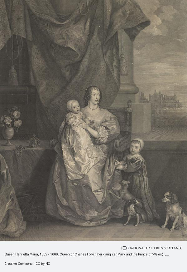 Sir Anthony van Dyck, Queen Henrietta Maria, 1609 - 1669. Queen of Charles I (with her daughter Mary and the Prince of Wales)