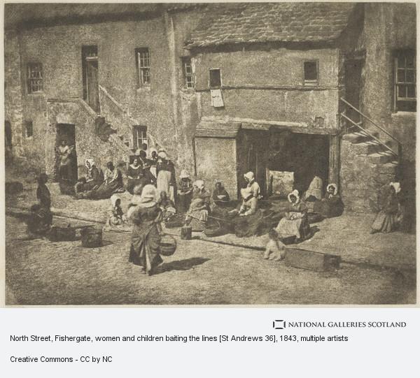 James Craig Annan, North Street, Fishergate, women and children baiting the lines [St Andrews 36]