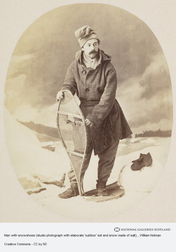 William Notman, Man with snowshoes (studio photograph with elaborate 'outdoor' set and snow made of salt)