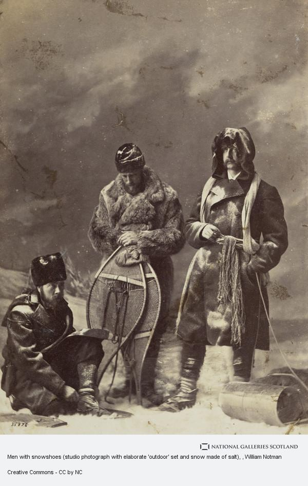 William Notman, Men with snowshoes (studio photograph with elaborate 'outdoor' set and snow made of salt)