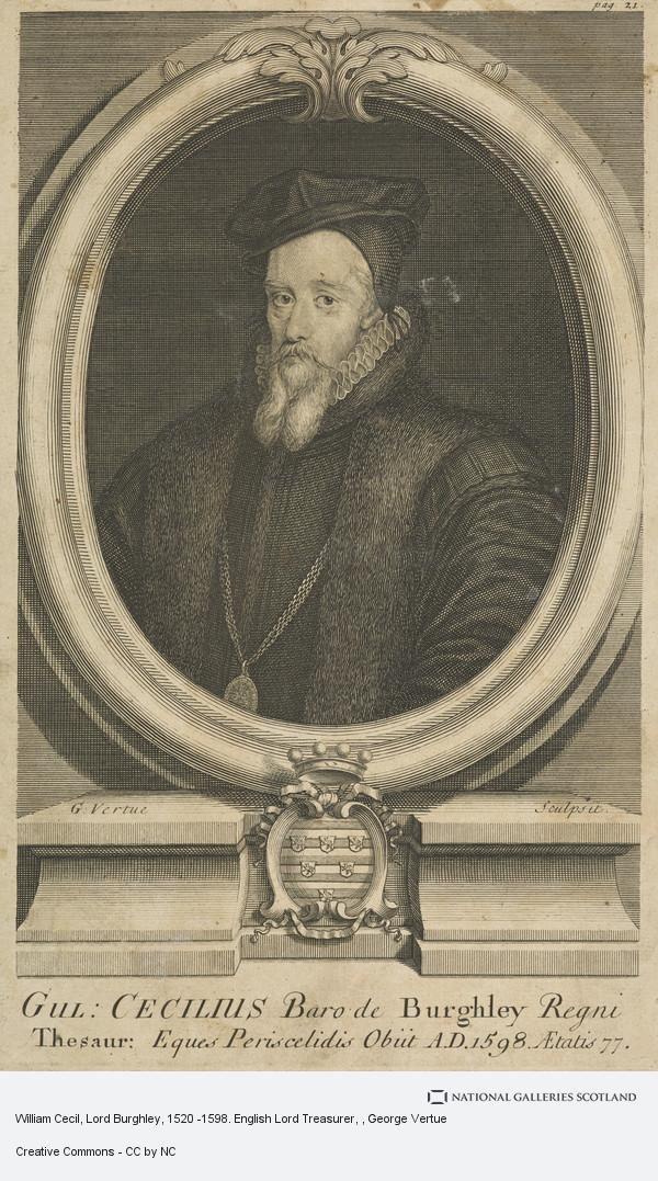 George Vertue, William Cecil, Lord Burghley, 1520 -1598. English Lord Treasurer