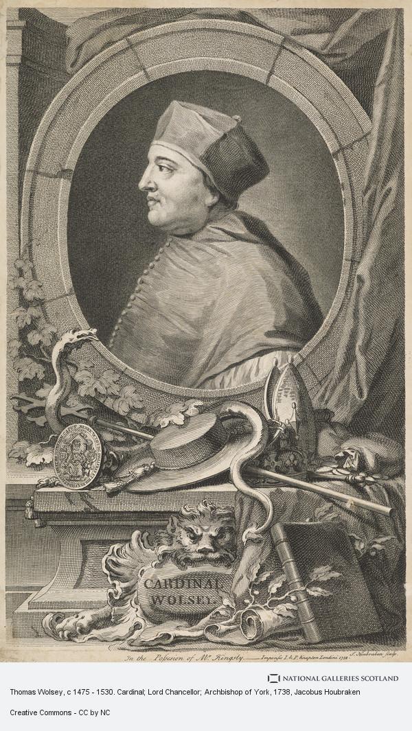 Jacobus Houbraken, Thomas Wolsey, c 1475 - 1530. Cardinal; Lord Chancellor; Archbishop of York