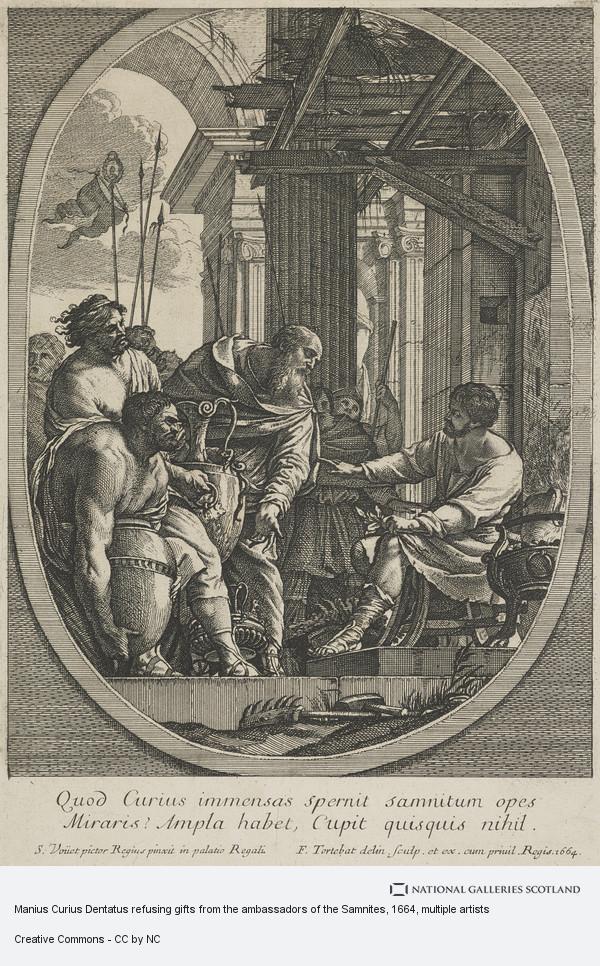 Simon Vouet, Manius Curius Dentatus refusing gifts from the ambassadors of the Samnites