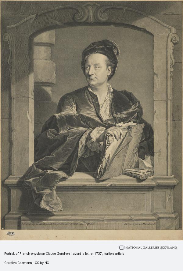 avant la lettre Portrait of French physician Claude Gendron   avant la lettre  avant la lettre