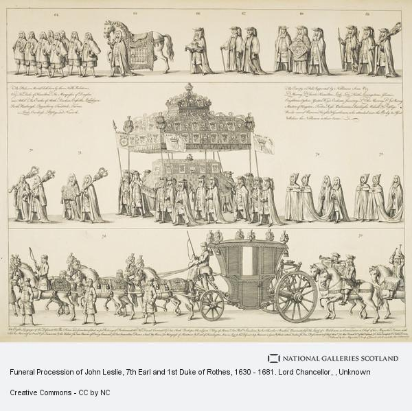 Unknown, Funeral Procession of John Leslie, 7th Earl and 1st Duke of Rothes, 1630 - 1681. Lord Chancellor