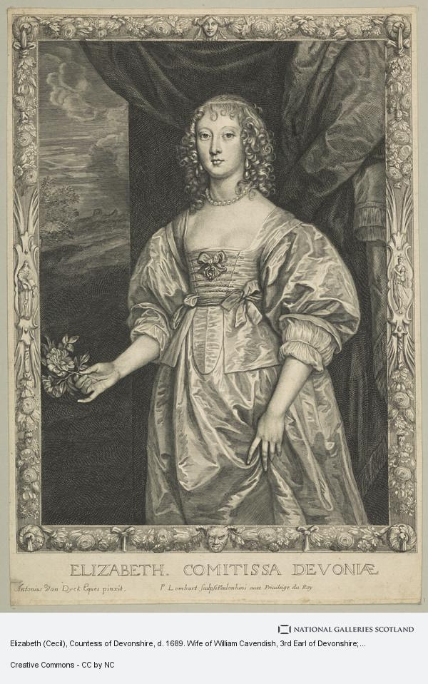 Pierre Lombart, Elizabeth (Cecil), Countess of Devonshire, d. 1689. Wife of William Cavendish, 3rd Earl of Devonshire; daughter of William Cecil, 2nd Earl of...
