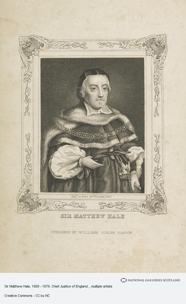 William Home Lizars, Sir Matthew Hale, 1609 - 1676. Chief Justice of England