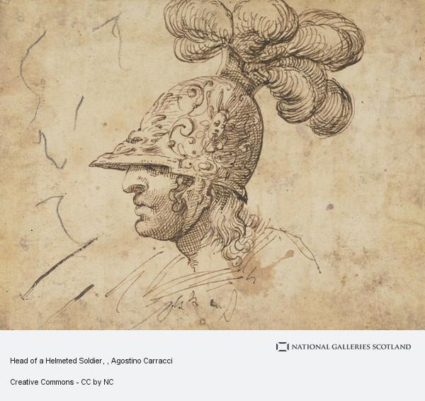 Agostino Carracci, Head of a Helmeted Soldier