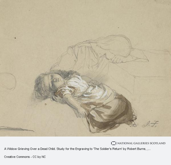 John Faed, A Widow Grieving Over a Dead Child. Study for the Engraving to 'The Soldier's Return' by Robert Burns