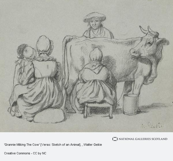 Grannie Milking The Cow' [Verso: Sketch of an Animal