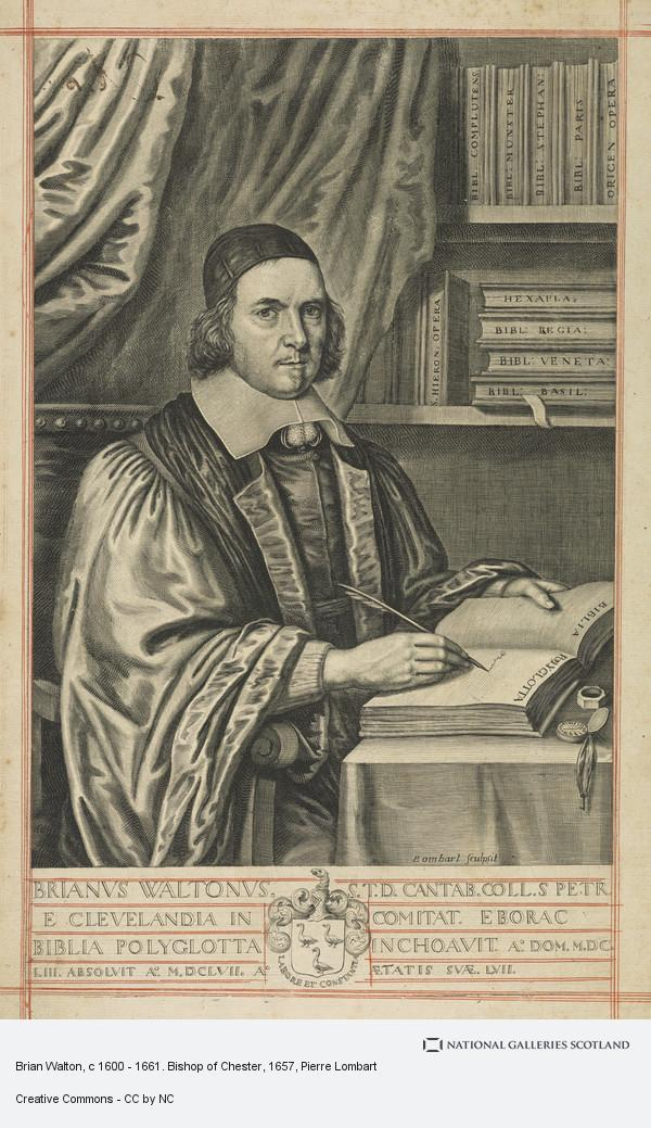 Pierre Lombart, Brian Walton, c 1600 - 1661. Bishop of Chester