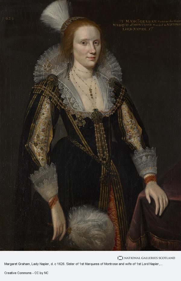 Adam de Colone, Margaret Graham, Lady Napier, d. c 1626. Sister of 1st Marquess of Montrose and wife of 1st Lord Napier (1626)