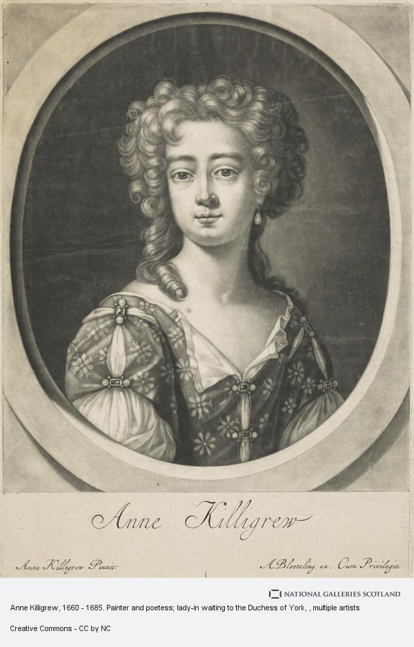 Abraham Blooteling, Anne Killigrew, 1660 - 1685. Painter and poetess; lady-in waiting to the Duchess of York