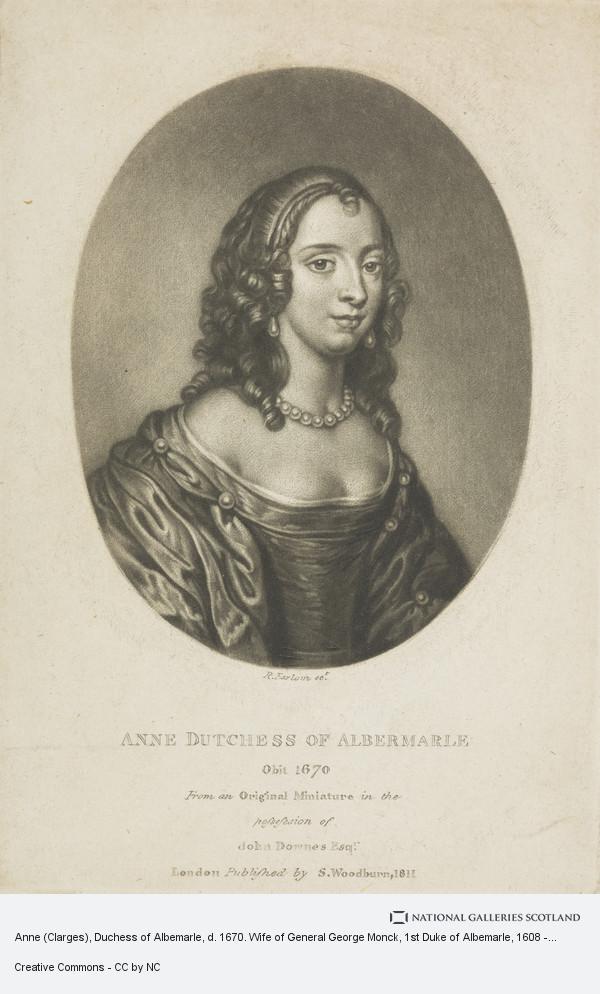 Richard Earlom, Anne (Clarges), Duchess of Albemarle, d. 1670. Wife of General George Monck, 1st Duke of Albemarle, 1608 - 1670