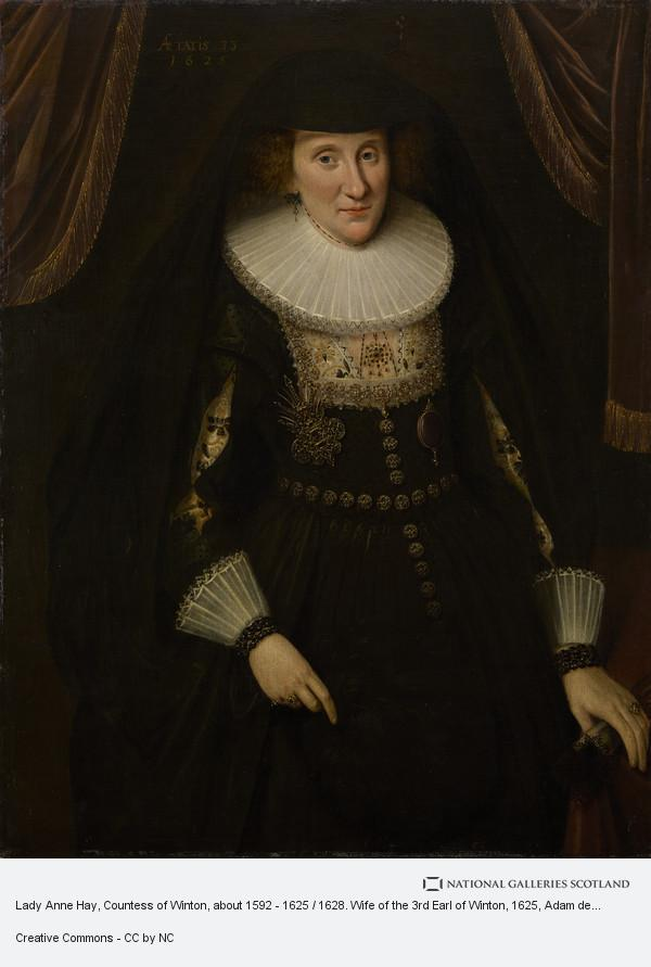 Adam de Colone, Lady Anne Hay, Countess of Winton, about 1592 - 1625 / 1628. Wife of the 3rd Earl of Winton