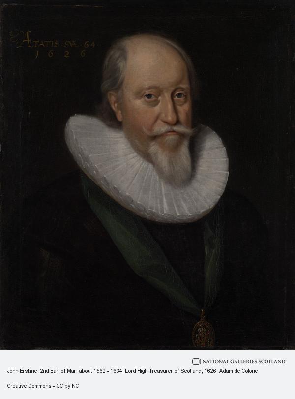 Adam de Colone, John Erskine, 2nd Earl of Mar, c 1562 . 1634. Lord High Treasurer of Scotland